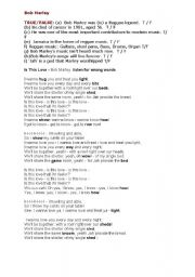 English Worksheet: Bob Marley song and worksheet