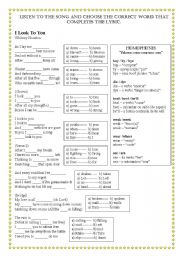 English Worksheets: Song Worksheet - I Look To You - By Whitney Houston