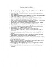 English Worksheets: American Revolution Questions