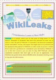 English Worksheets: Wikileaks: Reading and comprehension lesson 2011