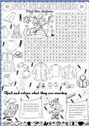 English Worksheets: my clothes