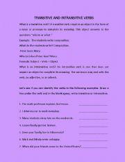 English Worksheet: TRANSITIVE- INTRANSITIVE VERBS