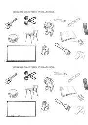 English Worksheet: School objects for kindergarten