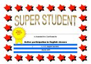 English Worksheet: certificate: super student