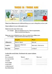 English Worksheets: Grammar - There is / there are... in town