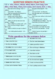 English Worksheets: Questions practice