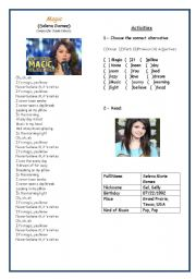 English Worksheets: Song : Magic ( Selena Gomez)