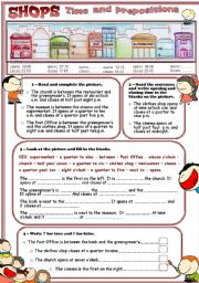 shops - time and prepositions.