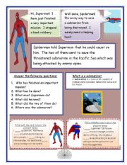 English Worksheet: Spiderman and Superman!