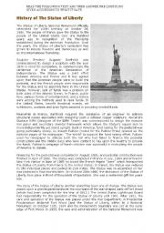 English Worksheet: reading about the statue of liberty