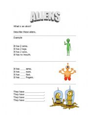 English Worksheets: Aliens!