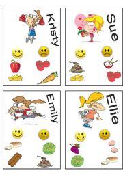 English Worksheet: Who is who? likes and dislikes/food