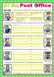 English Worksheet: At The Post Office  -  easy, short dialogues for young learners