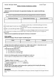 English Worksheets: module 5 section 1introductory activities