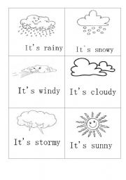 MINIFLASHCARDS- WEATHER- - ESL worksheet by smallwitch