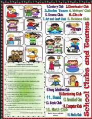 English Worksheets: School Clubs and Teams