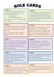 English Worksheet: Role play cards