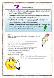 English worksheet: kinds of sentences