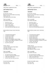 English Worksheet: Bruno Mars Just the way you are