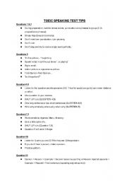 English worksheet: TOEIC Speaking test tips Questions 1-11