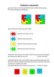 English Worksheets: keeping pets (jigsaw method/Gruppenpuzzle)