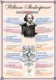 English Worksheet: William Shakespeare quotes