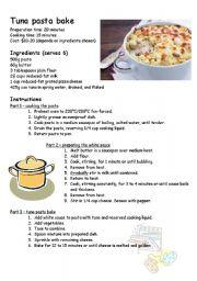English teaching worksheets recipes english worksheets tuna pasta bake recipe forumfinder Choice Image