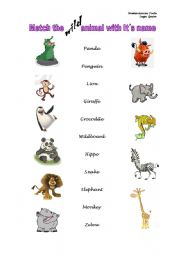 English worksheets: Match the wild animals with its names