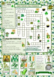 English Worksheets: St. Patrick´s Day Crossword - with answers