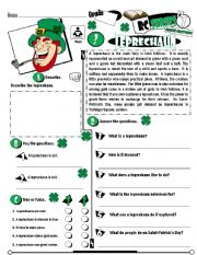 English Worksheet: RC Series_Level 01_Irish Edition_03 Leprechaun (Fully Editable + Key )
