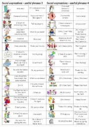 English Worksheet: Social expressions - useful phrases 3 & 4 (new version)