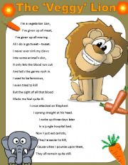 English Worksheets: THE VEGGY LION