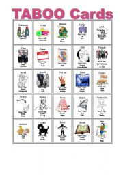 English Worksheets: Taboo Cards