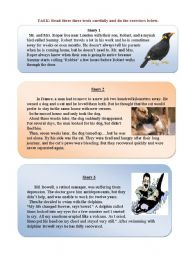 English Worksheets: READING-COMPREHENSION, animals