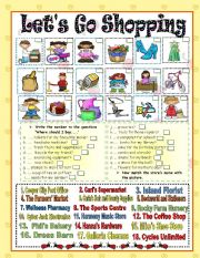 English Worksheet: Let�s Go Shopping !