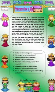 English Worksheets: Comprehension - Princess for a Day
