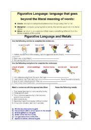 English worksheet: Metals and Figurative Language: metaphors,similes,idioms