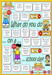 English Worksheets: What do you do on a school day?
