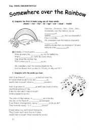 English Worksheet: Song: Somewhere over the Rainbow