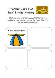 English Worksheets: Farmer Joe�s Hot Day Activity