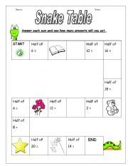 English Worksheets: Snake Table - Halving