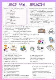 English Worksheet: So Vs. Such