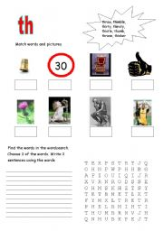 English Worksheets: Letter blend TH
