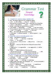 English Worksheet: Grammar Test: General Knowledge