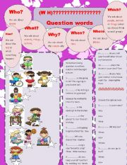 English Worksheets: wh question words