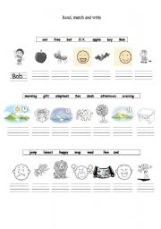 English Worksheets: Match and trace the letters.
