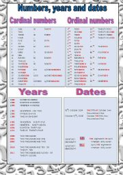English Worksheet: Numbers, Years and Dates