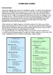 English Worksheets: Language cards