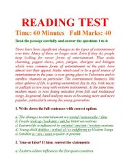 English Worksheets: READING TEST AND ANSWERING QUESTIONS