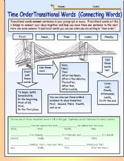 English Worksheet: Time Order Transitional Words (Connecting Words)